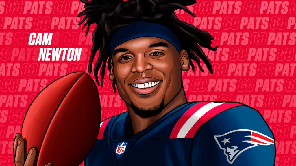 Arte divulgada no twitter da NFL oficializando Cam Newton como jogador do New England Patriots